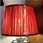 Red Pleated Linen Shade
